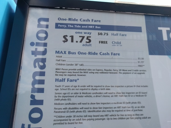 Elizabeth River Ferry ticket prices