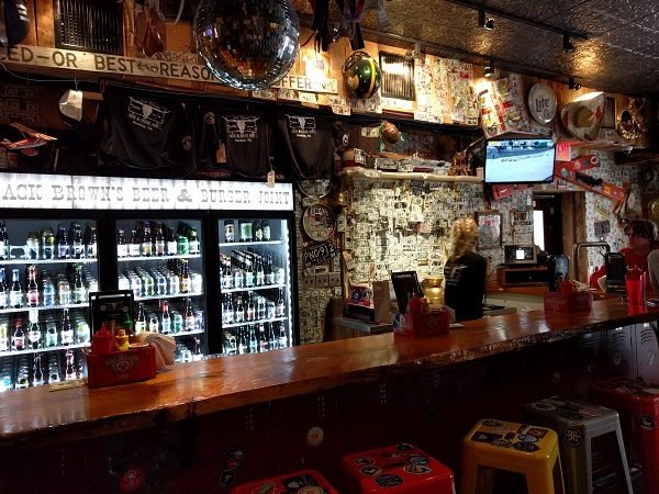 Jack Brown's bar with dollar bills