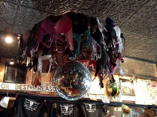 Jack Brown's glitter ball with bras