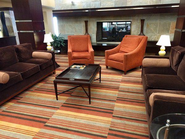 Sheraton Roanoke lobby with fireplace