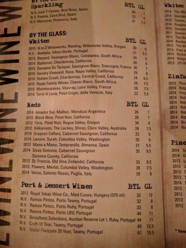 Still Portsmouth VA Drinks Menu Wines
