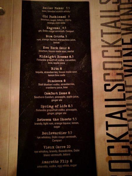 Still Portsmouth VA drinks menu - cocktails 1