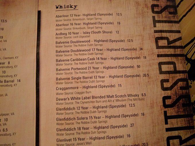 Still Portsmouth VA drinks menu - whiskey 3