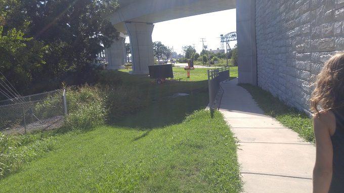 22 - You'll walk back under the bridge