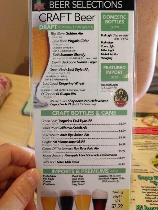 Dough Boys Virginia Beach beer menu