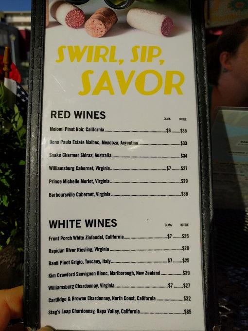 LunaSea Virginia Beach wine menu