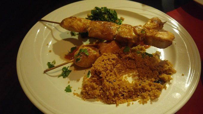 Tosca Brava chicken skewers and cous cous