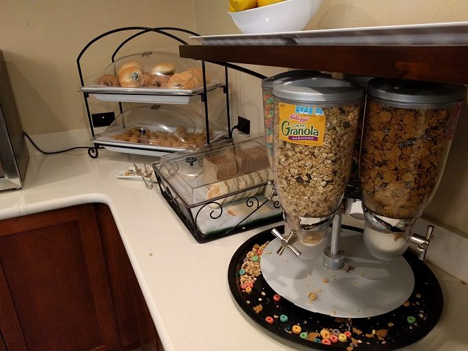 Staybridge Suites Herndon Dulles breakfast - cereal, breads, bagels and muffins