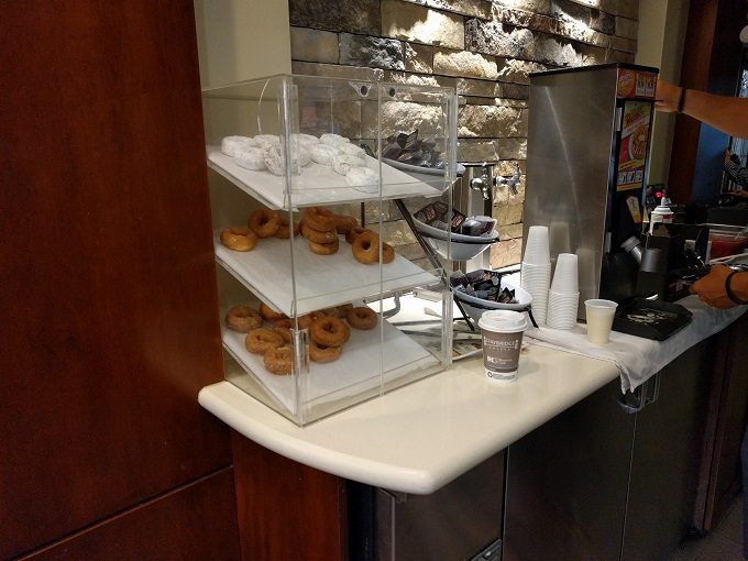 Staybridge Suites Herndon Dulles breakfast - donuts and waffle makers