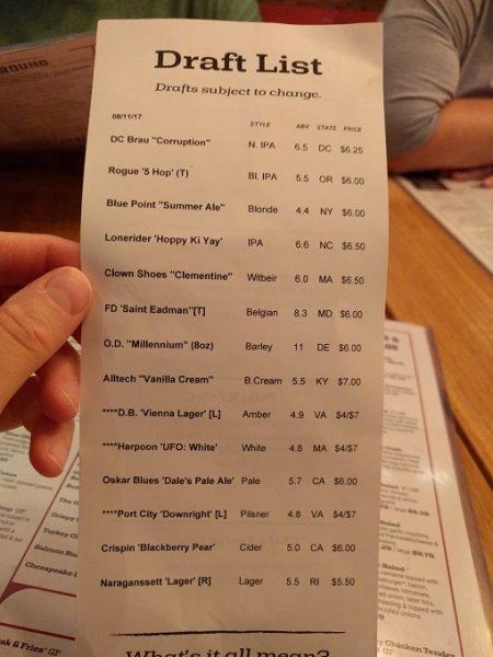 b Restaurant DC Penn Quarter drinks menu - draft beers