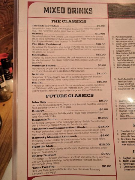 b Restaurant DC Penn Quarter drinks menu - spirits
