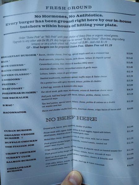 b Restaurant DC Penn Quarter menu - burgers