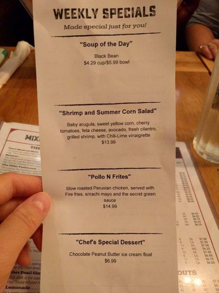 b Restaurant DC Penn Quarter menu - weekly specials