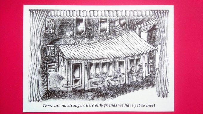 Stage Door Cafe postcard