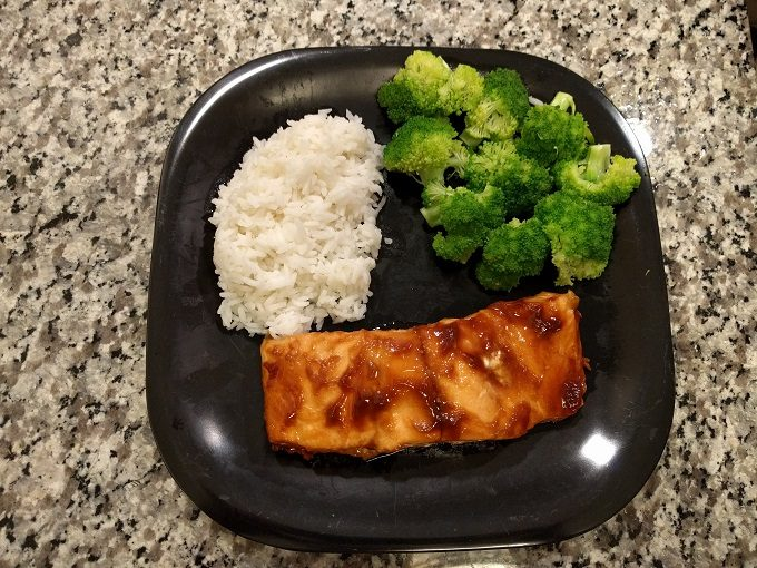 Hoisin salmon, rice & broccoli - delicious!