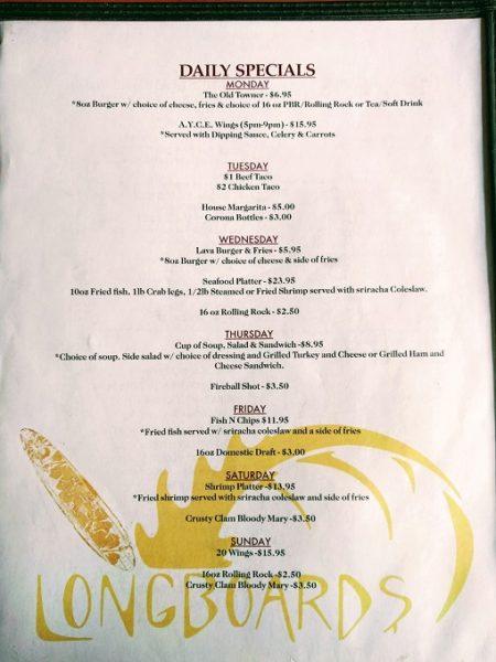 Longboards, Portsmouth VA menu - daily specials