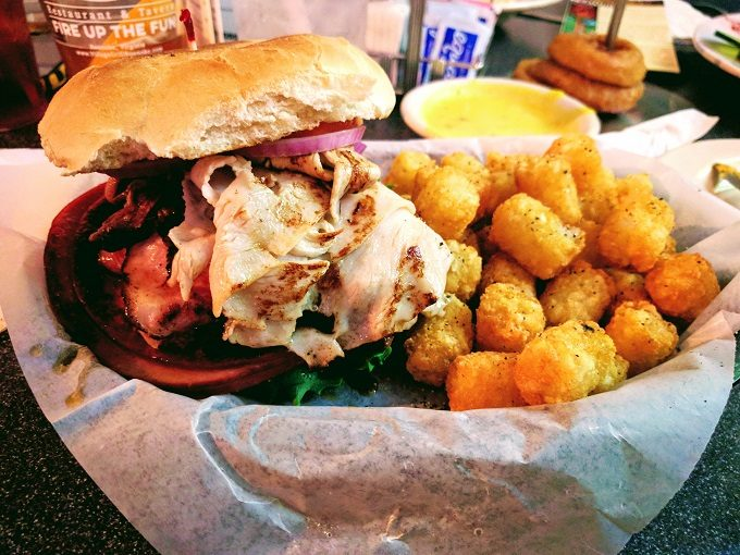 The Village Grill, Roanoke VA - Finish The Mission sandwich with tater tots