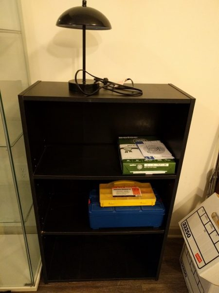 Bookcase, lamp, paper & toolbox