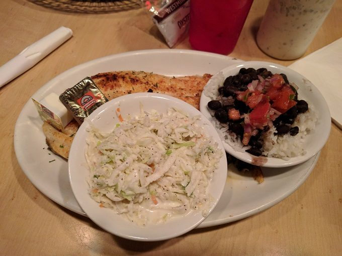 Flounder, rice & beans and coleslaw