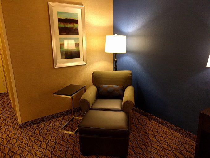 Holiday Inn Chicago-Elk Grove armchair, footrest and table