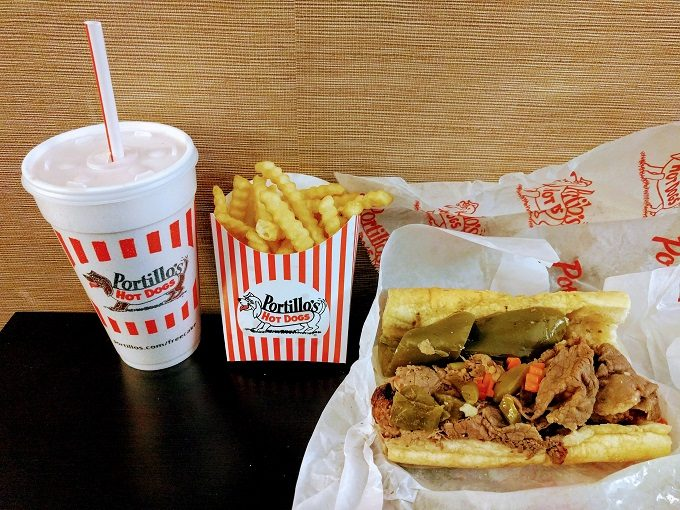 Portillo's Hot Dogs - combo beef and Italian sausage sandwich