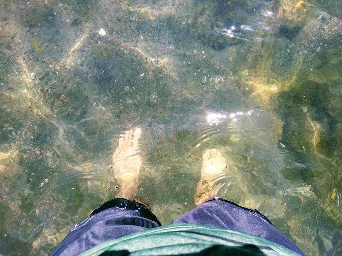 Dipping my feet in Lake Taupo