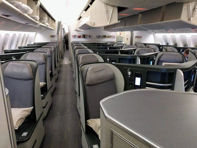 EVA Air TPE-JFK business class cabin