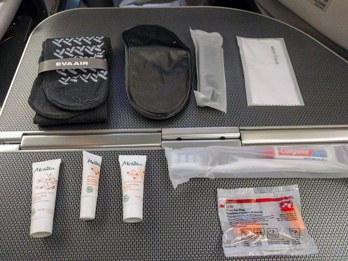 EVA Air TPE-JFK business class - contents of Rimowa amenity kit
