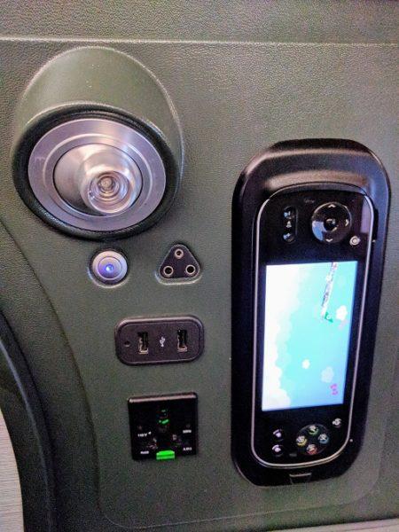 EVA Air TPE-JFK business class entertainment handset, light and power outlets