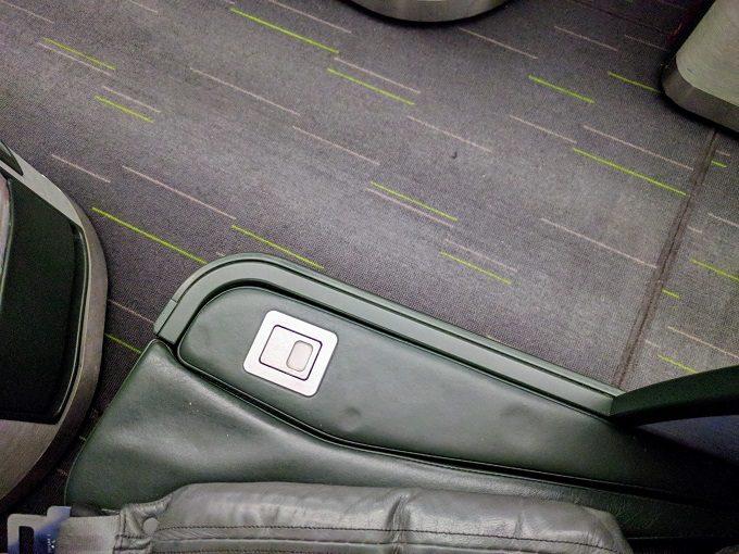 EVA Air TPE-JFK business class - lowered armrest