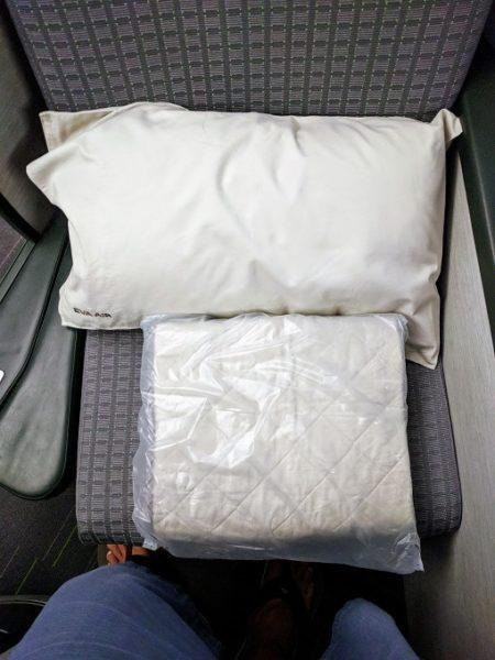 EVA Air TPE-JFK business class pillow & mattress pad