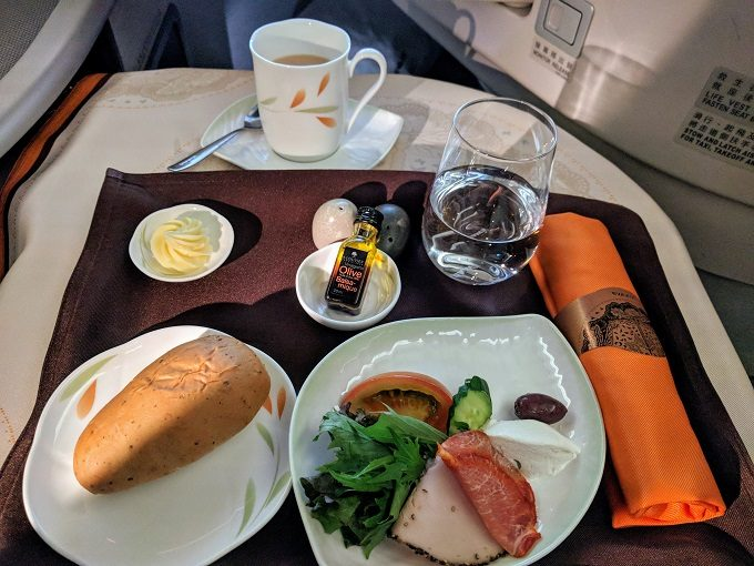 EVA Air TPE-JFK business class - pork and turkey with salad and bread