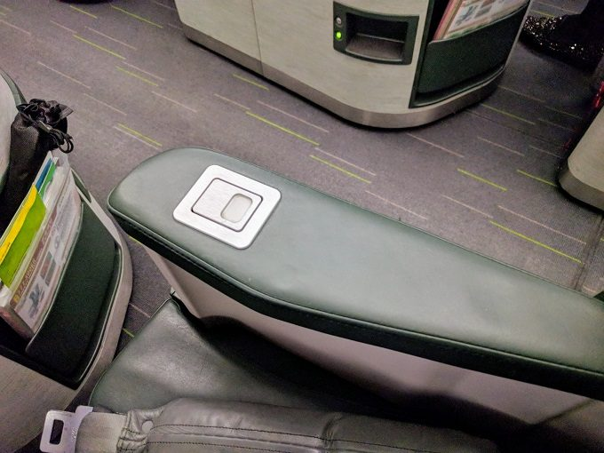 EVA Air TPE-JFK business class raised armrest