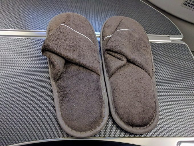 EVA Air TPE-JFK business class slippers