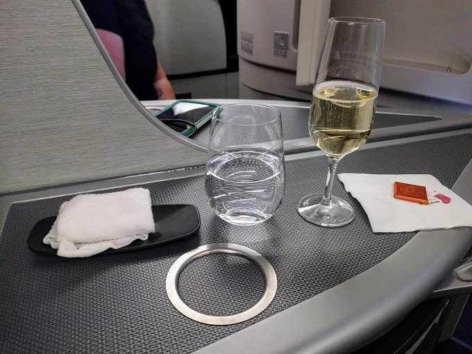 EVA Air TPE-JFK business class welcome drink - Krug champagne, water and chocolate
