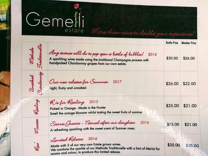 Gemelli Estate wine tasting menu - 1
