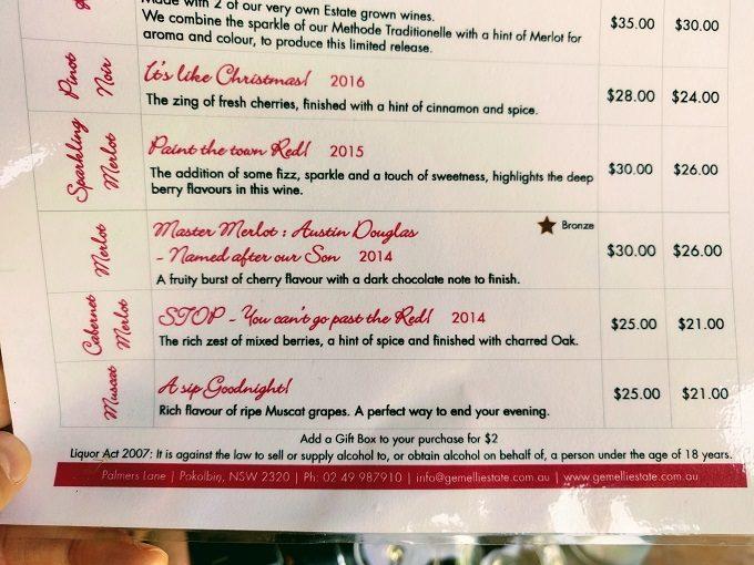 Gemelli Estate wine tasting menu - 2