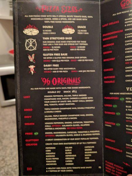 Hell Pizza menu - 1