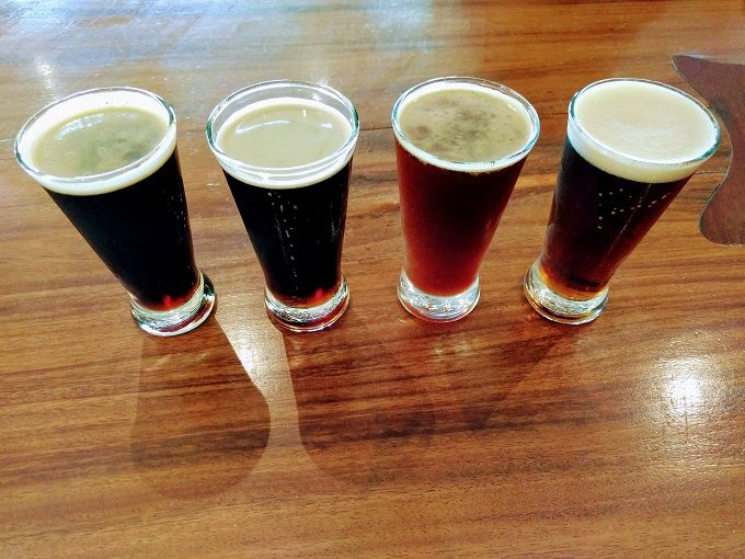 Hunter Beer Co - from left Hunter Bock, Slaked Magpie, Christmas Pudding Beer and Daniel's Delectable And Delightfully Rubicund Elixir Infused With Lupulin Goodness (a red IPA)