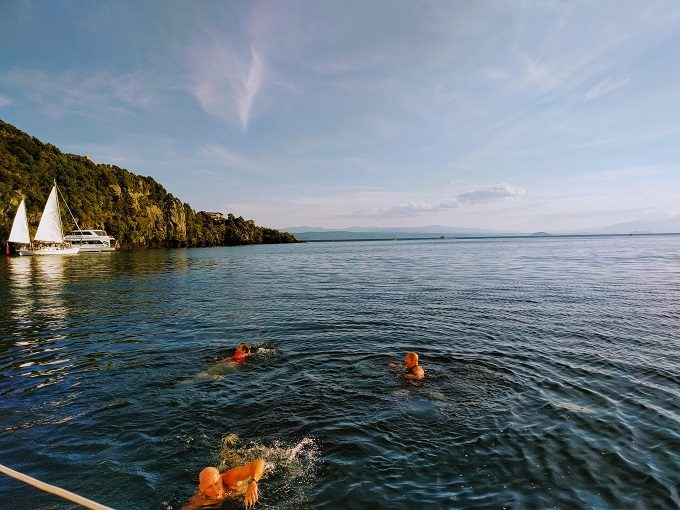Making the most of our dip in Lake Taupo