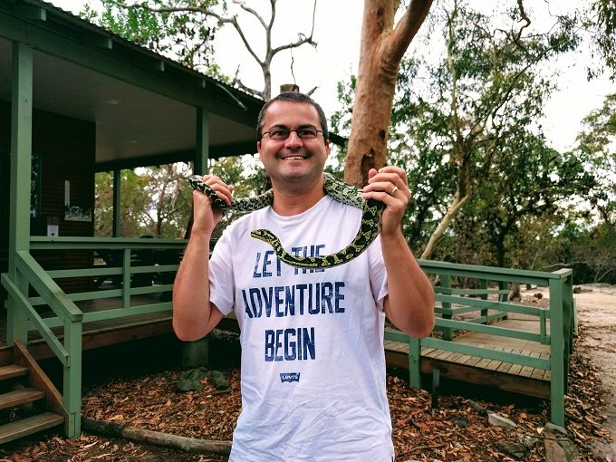 Me holding a Jungle Python