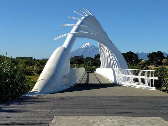 Mount Taranaki seen through Te Rewa Rewa Bridge