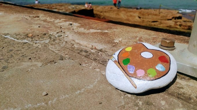 Painted rock left at Bondi Beach