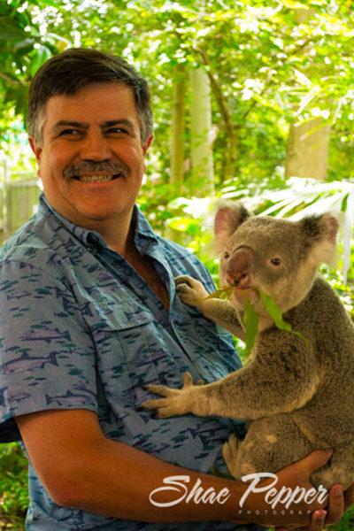 Steve holding a koala