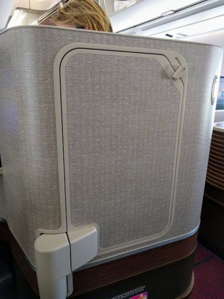 Thai Airways MEL-BKK business class tray table stowed