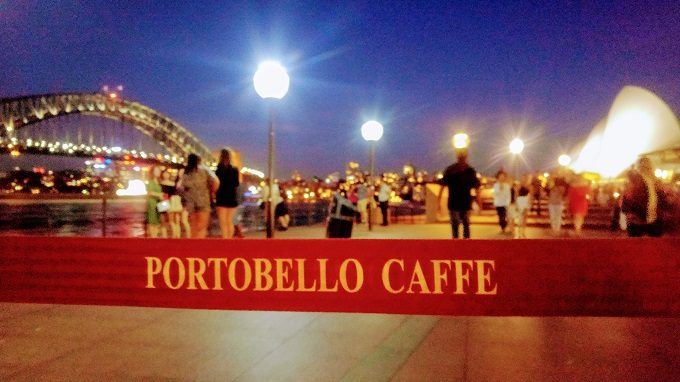 View of Sydney Harbor Bridge and Sydney Opera House from Portobello Caffe