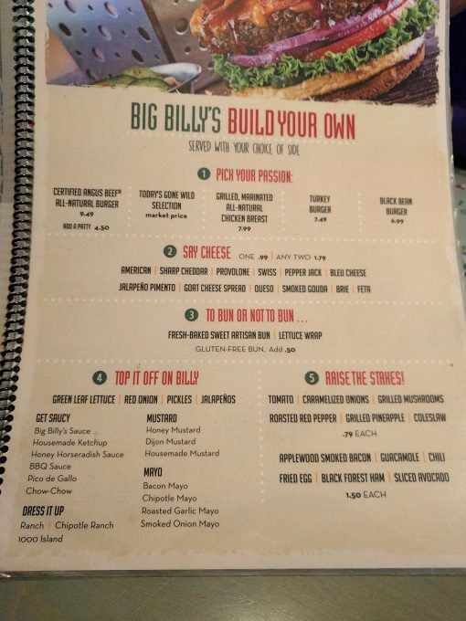 Big Billy's Burger Joint Build your own burgers