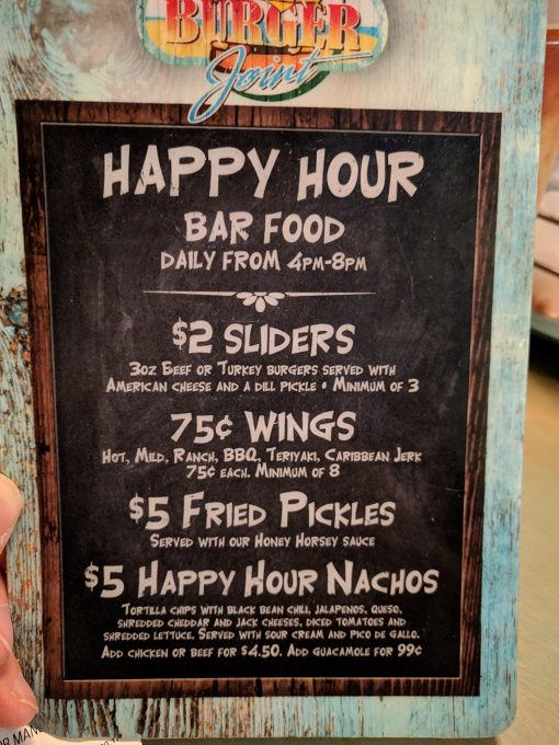 Big Billy's Burger Joint Happy hour bar food