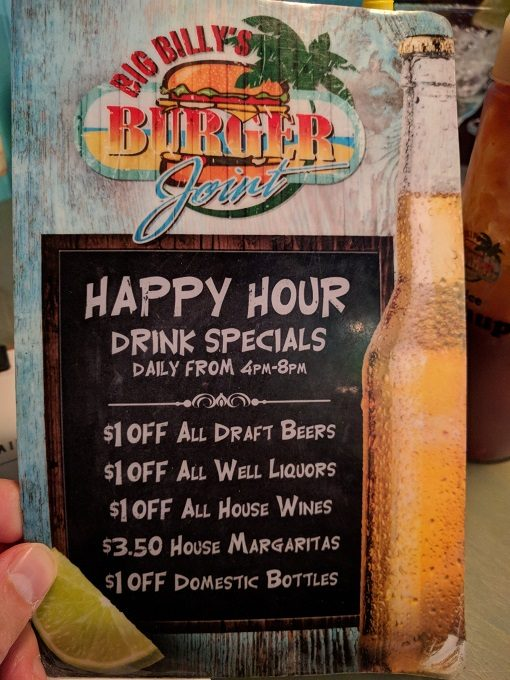 Big Billy's Burger Joint Happy hour drinks