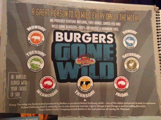 Big Billy's Burger Joint Wild game burger daily menu